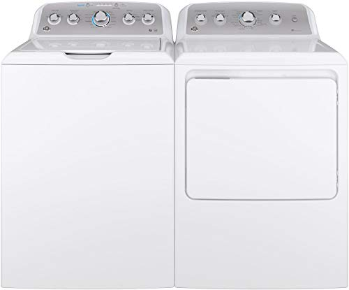 "GE Top Load Speed Wash GTW500ASNWS 27″"" Washer with Front Load GTD45EASJWS 27″"" Electric Dryer Laundry Pair in White"