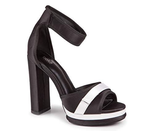 Baldi Women's Pennsburg Black Textile Ankle Velcro Strap High Wide Heel Peep Toe Platform Sandals Shoes Pumps (US 8.5 / EU 39)
