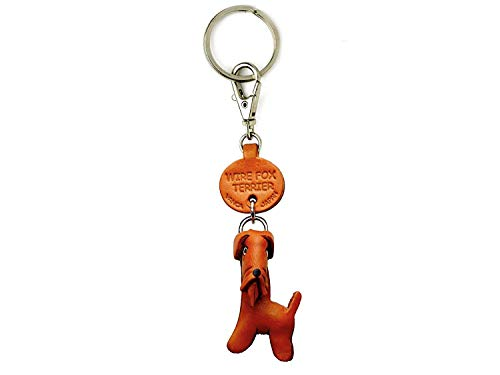 Wire Fox Terrier Leather Dog Small Keychain VANCA Craft-Collectible Keyring Charm Pendant Made in Japan