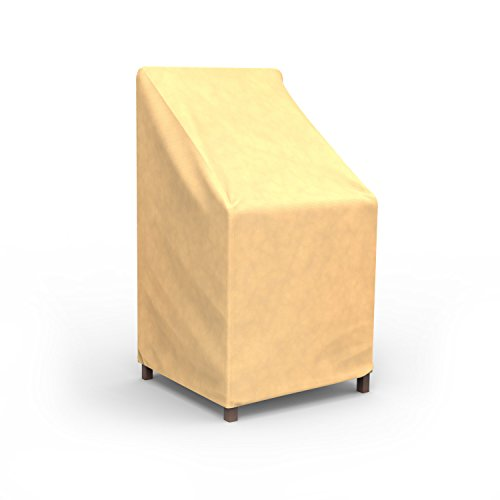 Budge All-Seasons Patio Stack of Chairs Cover / Barstool Cover (Tan) Patio Furniture Stack Chairs