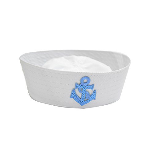 Toddler White Sailor Hat & Gold Anchor for Sailing Nautical Party Costume Accessory (Blue Anchor) ()
