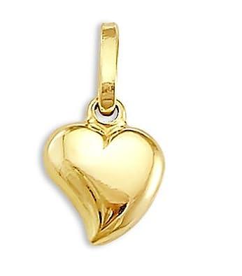 Heart Pendant 14k Yellow Gold Charm 3D 1/2 inch