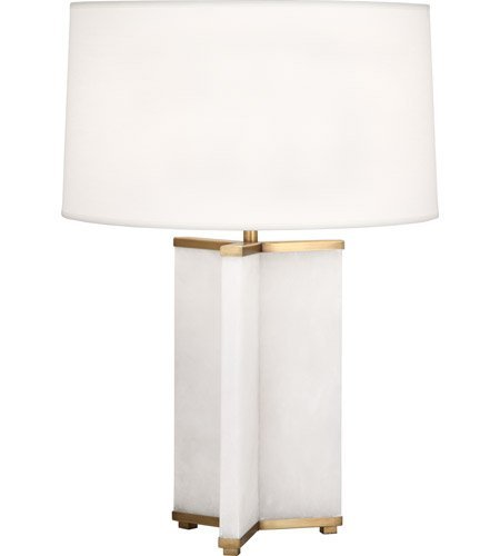 Robert Abbey 1514 Fineas - One Light Table Lamp, Alabaster Stone/Aged Brass Finish with Fondine Fabric (Alabaster Brass Table Lamp)