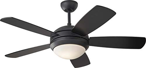 Monte Carlo 5DI44BKD Downrod/Flush Mount, 5 Matte Black Blades Ceiling fan with 58 watts light, See Image