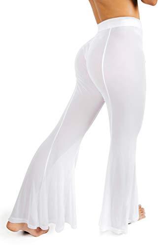 sofsy White Mesh Swimsuit Cover Up Pants for Women Sheer Beach Sexy Swimwear Coverup Pant See Through Swim Bikini Bathing Suit Petite Small (Beach Pants Swimwear)