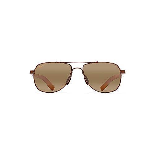 Maui Jim Guardrails H327-23 | Polarized Metallic Gloss Copper Aviator Frame Sunglasses, with with Patented PolarizedPlus2 Lens Technology ()