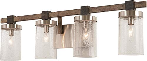 - Minka Lavery Wall Light Fixtures 4634-106 Bridlewood Bath Vanity Lighting, 4-Light 240 Watts, Stone Grey