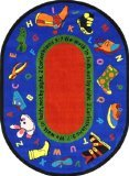 Joy Carpets Kid Essentials Inspirational Round Walk In Faith Area Rug, Multicolored, 5'4''
