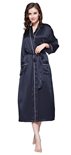 LilySilk Edel Seide Morgenmantel Bademantel Nachtkleider Damen Lang 22 Momme Dunkel Blau yxu616vj