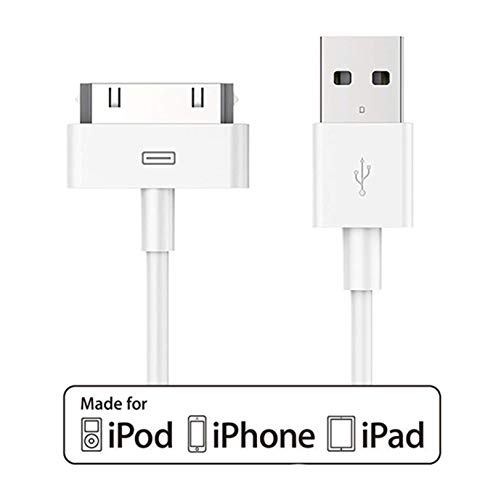 [ Apple MFi Certified ] Acepower 30 Pin USB Charging and Sync Dock Connector Data Cable for Apple iPhone 4, iPhone 4s / iPhone 3G / 3GS / iPad 2, iPad 3 / iPod - 4.0 Feet / 1.2 Meters (White) (Connector Dock 3g Iphone)