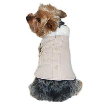 Anima Cream Faux Fur Collar Cotton Coat, Velcro Closure, Large, My Pet Supplies