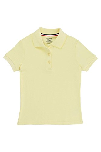 Yellow Uniform (French Toast Big Girls' Short Sleeve Interlock Polo with Picot Collar, Yellow, X-Large/14/16)