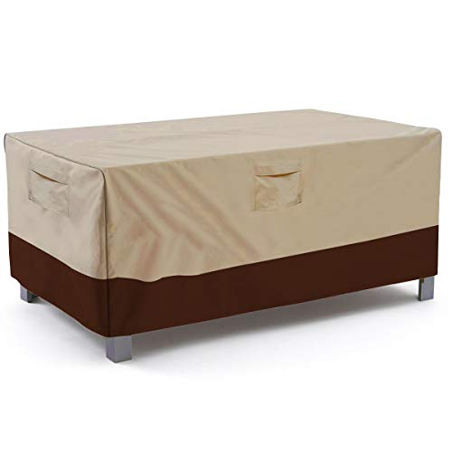 Vailge Veranda Rectangular/Oval Patio Table Cover, Heavy Duty and Waterproof Outdoor Lawn Patio Furniture Covers, X-Large Beige & Brown (Table Rectangular Chairs Garden And)