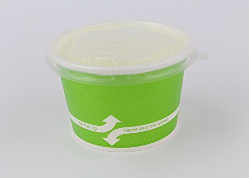 100 Count Green Deli Containers Durable Food Storage Containers with Lids Hot and Cold Disposable 8oz Containers Use for Frozen Desserts, Soups, or Any Food of Your Choice