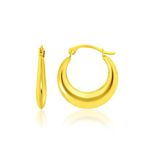 Mia Diamonds 14k Yellow Gold Graduated Round Shape Hoop Earrings