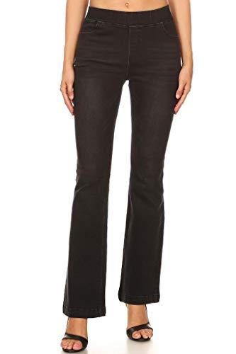 Jvini Women's Pull-On Stretchy Slim Bootcut Denim Flare Pants Black Small