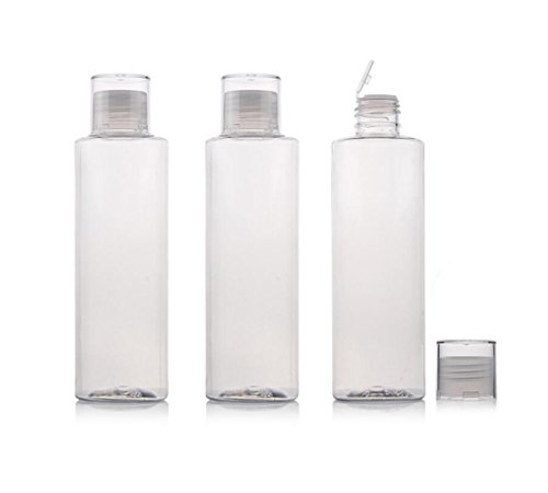 3PCS Empty Clear Refillable Plastic Toner Lotion Cleanser Bottle Jars Travel Cosmetic Storage Container Packing Holder Organizer for Makeup Water Essential Oil Shampoo Shower Gel - Each Tube 8 Oz