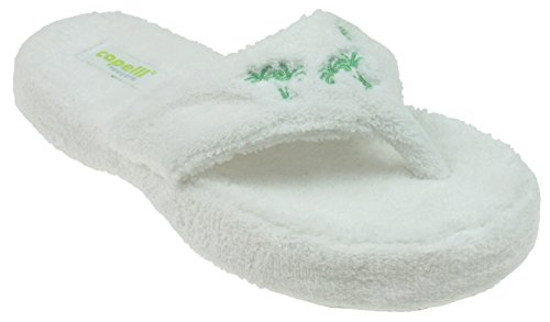 Capelli New York Ladies Palm Trees Design Indoor Slippers White (Palm Tree Slipper)