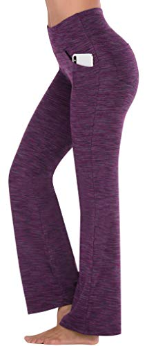 IUGA Bootcut Yoga Pants with Pockets for Women High Waist Workout Bootleg Pants Tummy Control, 4 Pockets Work Pants for Women (Space ZISE, Medium)