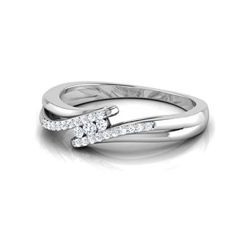 14K Or blanc, 0.16carat Diamant Taille ronde (IJ   SI) en diamant