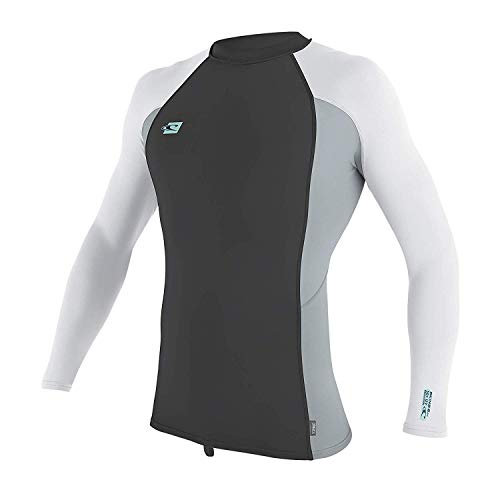 O'Neill Wetsuits Men's Premium Skins UPF 50+ Long Sleeve Rash Guard, Midnight Oil/Cool Grey/White, ()