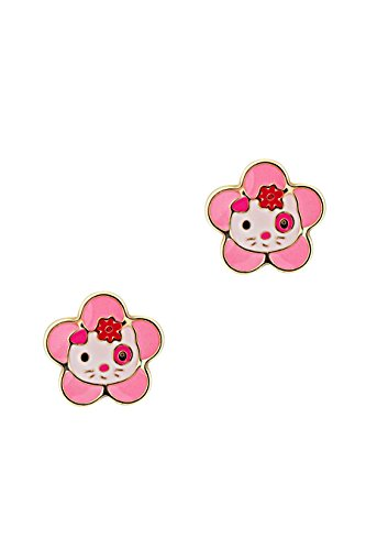 Childrens 14K Gold Screwback Earrings Stud Enameled Kitty in Flower Design Pink (Kitty Enameled)