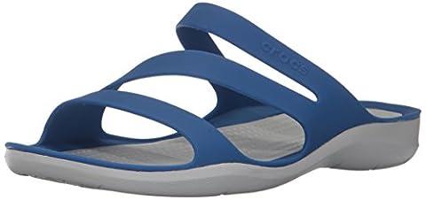 crocs Women's Swiftwater W Flat Sandal, Blue Jean/Pearl White, 9 M US - Blue Croc