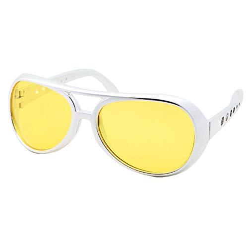 (50's 60's Rock Star Sunglasses - Elvis Style Aviator Glasses - Mens Costume (Silver Frame, Yellow Lens))