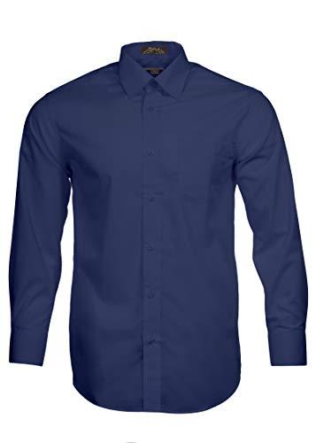 Alberto Danelli Men's Solid Long Sleeve Dress Shirt, Midnight, XLarge / 17 Neck, 34/35 ()