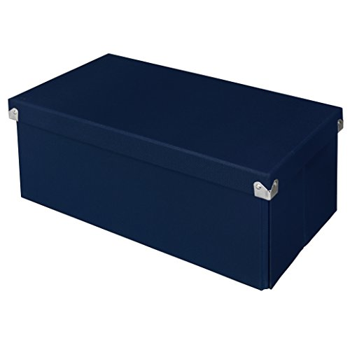 Pop n' Store Decorative Storage Box with Lid - Collapsible and Stackable - Essential DVD Storage Box - Navy Blue - Interior Size (14.625