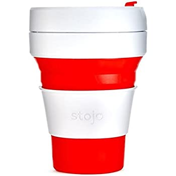Stojo Collapsible Cup, Silicone, Travel Mug, Reusable, Leak Proof Lid, 12 oz, Red
