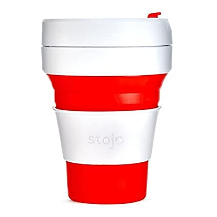 Stojo Collapsible Cup, Silicone, Travel Mug, Reusable, Leak Proof Lid, 12 oz, Black ST1-12OZ-COF-BLK-RET