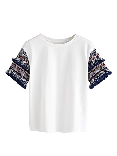 Floerns Women's Short Sleeve Round Neck Fringe Trim Jacquard T-Shirt Tops Multi S - Embroidered Jacquard Shirt