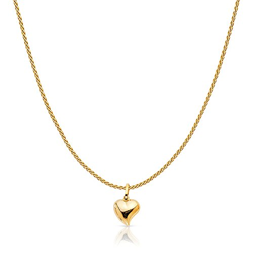 (14K Yellow Solid Gold Plain Heart Charm Pendant with 0.9mm Wheat Chain Necklace - 18