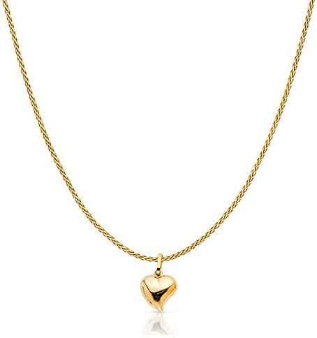 14K Yellow Solid Gold Plain Heart Charm Pendant with 0.9mm Wheat Chain Necklace