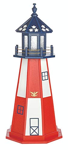 Beaver Dam Woodworks Amish-Made Red, White and Blue Hybrid Outdoor Cape Henry Replica Lighthouse with LED Solar Light, 45