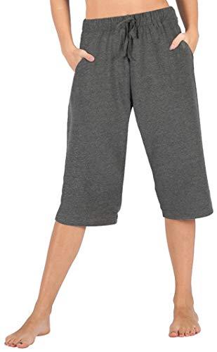 2037573277b122 WEWINK CUKOO 100% Cotton Women Pajama Capri Pants Lounge Pants with Pockets  Sleepwear (Small