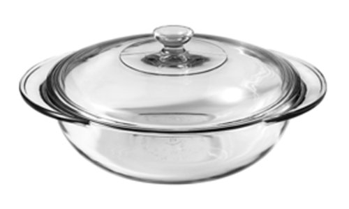 Anchor Hocking 77891 Fire-King Casserole Baking Dish with Lid, Glass, 2-Quart