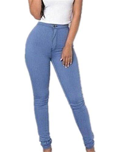 Vaqueros Sky lápiz Denim Estiramiento Mujeres S Casual Azul Pantalones del Chica Cintura Jeans los Pantalones del YqYPnr1
