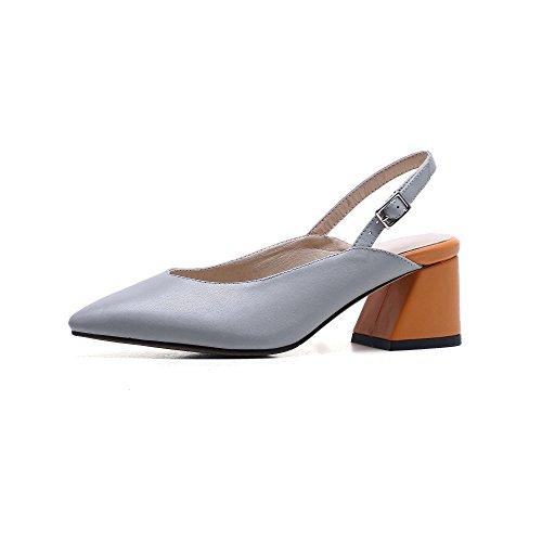 Sandales Suhang Au Printemps De Sandales De Femmes À Talons Hauts Chaussures Bande Élastique Baotou De Banlieue Gris Foncé, 38, Gris