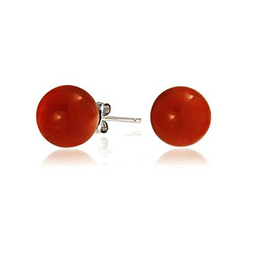 Round Dyed Carnelian Bead Sterling Silver Ball Studs 8mm by Bling Jewelry