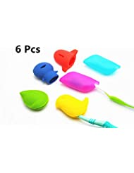 Toothbrush Holders Covers Protective Case Anti-Bacterial Hygienic Silicone for Home Daily Bathroom Travel Outdoor Camping Sport Running Hiking Accessories 6 Pcs