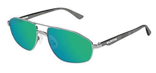 Balenciaga BB0012S Sunglasses 004 Silver-Grey/Green Mirror(Double) Lens 58 mm