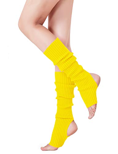 V28 Women's Neon Knit Leg Warmer for 80s Party Dance Sports Yoga (48-yellow) -