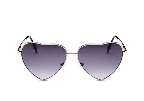 Flowertree Women's S014 Heart Aviator 55mm Sunglasses (gradient grey, - Heart Ladies Shape