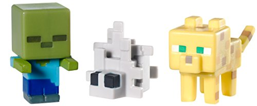 Minecraft Collectible Figures Ocelot, Zombie and Silverfish 3-Pack, Series -
