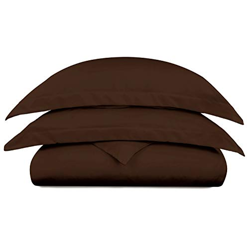 Cosy House Collection Luxury Bamboo Duvet Cover Set 3-Piece - Ultra Soft Hypoallergenic Bedding - Zippered Comforter Protector, Includes 2 Pillow Shams - Full/Queen - Chocolate