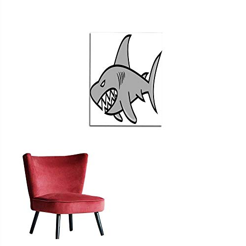 - longbuyer Art Decor Decals Stickers Nasty Gray Shark Mural 32