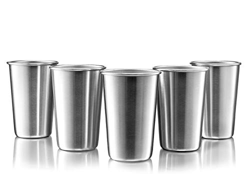 Modern Innovations Stainless Steel Pint Cups, Set of 5, 16 Oz Metal Cups For Drinking Made of Food Grade Quality, BPA Free, Shatterproof SS Tumblers Perfect for Camping, Picnics, Indoor & Outdoor Use -