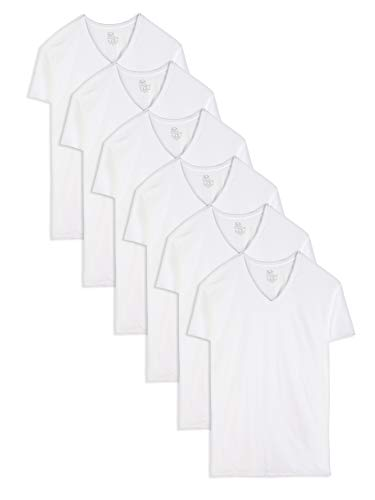 Fruit of the Loom Men's Stay-Tucked V-Neck T-Shirt, White (6 Pack) - Tall Sizes, 3X